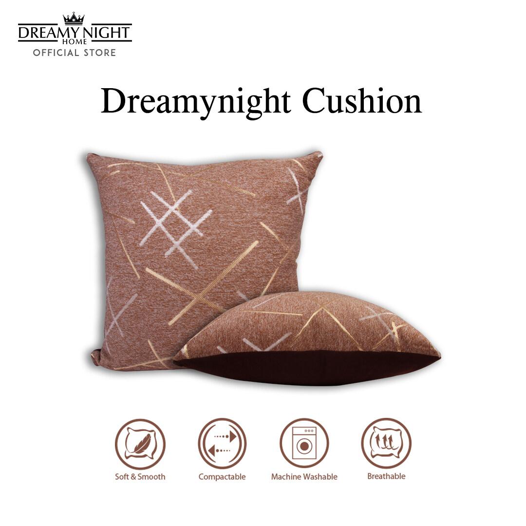 Dreamynight Home Cushion Insert with Linen Fabric Cushion Cover 46cm X 46cm Embroidery Design Sarung Kusyen Home Décor