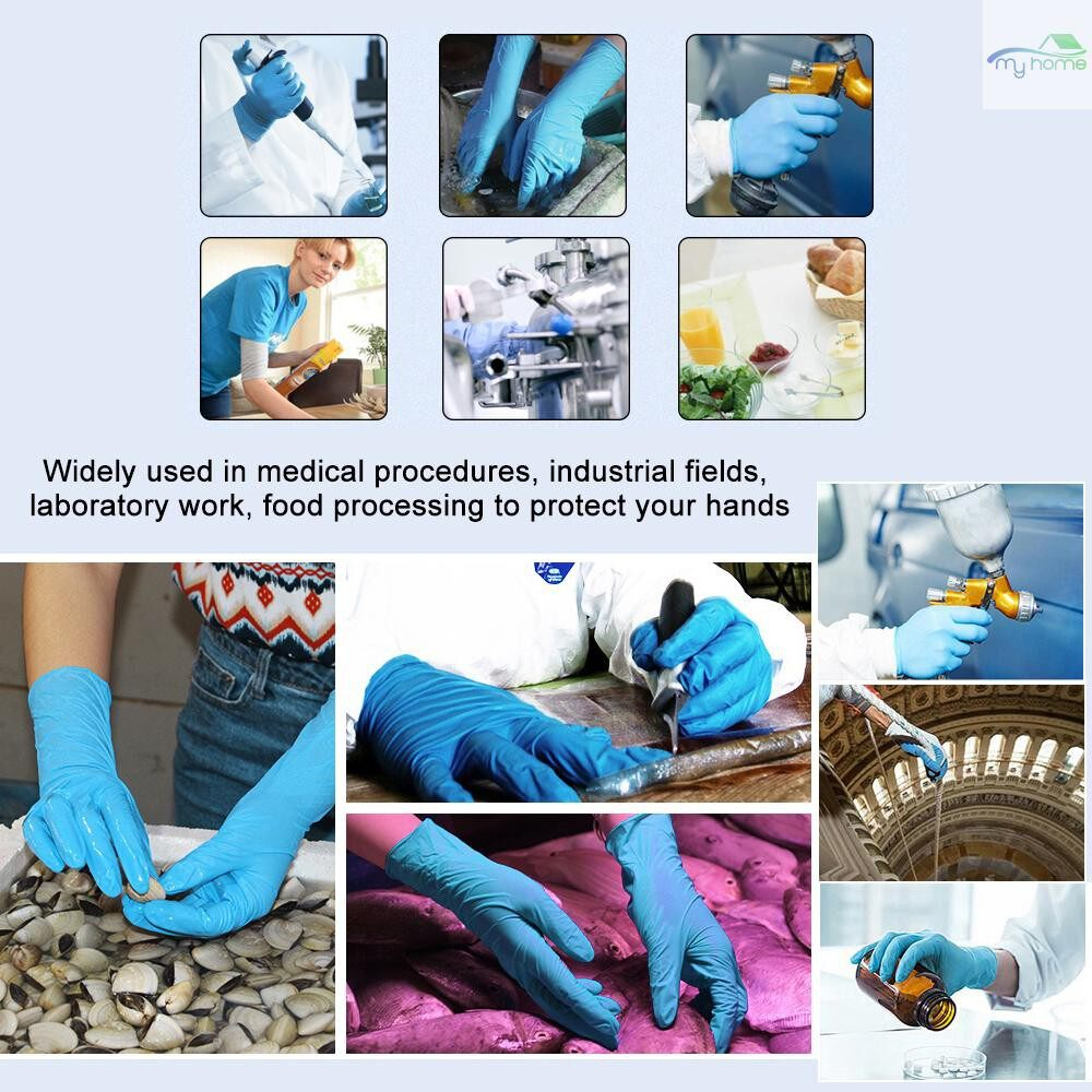 Protective Clothing & Equipment - 100 PIECE(s) Disposable Nitrile Rubber Glove Powder Free Thicken Rubber Gloves for Labor Home Food - L / M / S