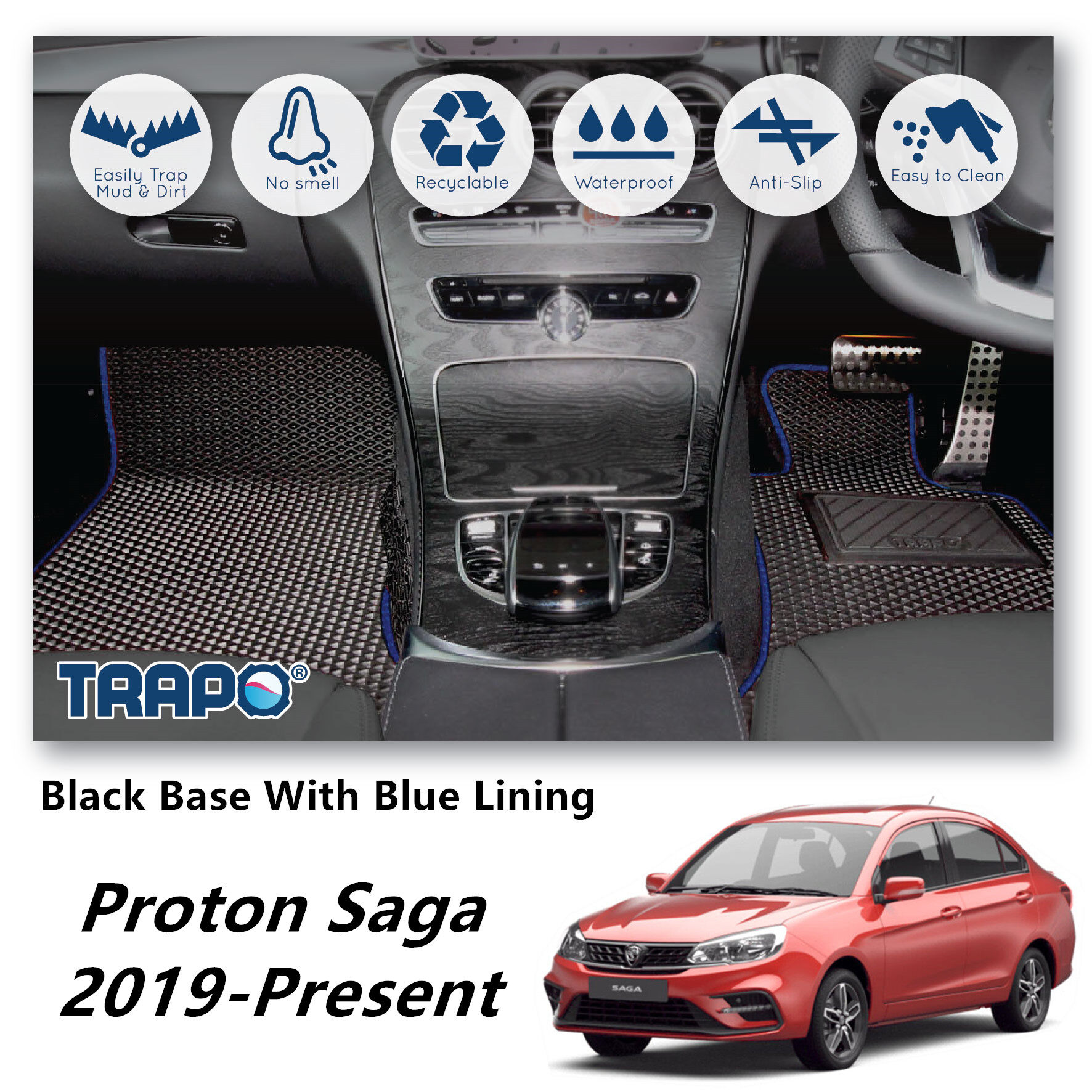 Proton Saga VVT 2019-Present TRAPO Customize Car Floor Mat Black Base with Red Lining,Grey Lining,Blue Lining,Black Lining Choose The Colour In Colour Family
