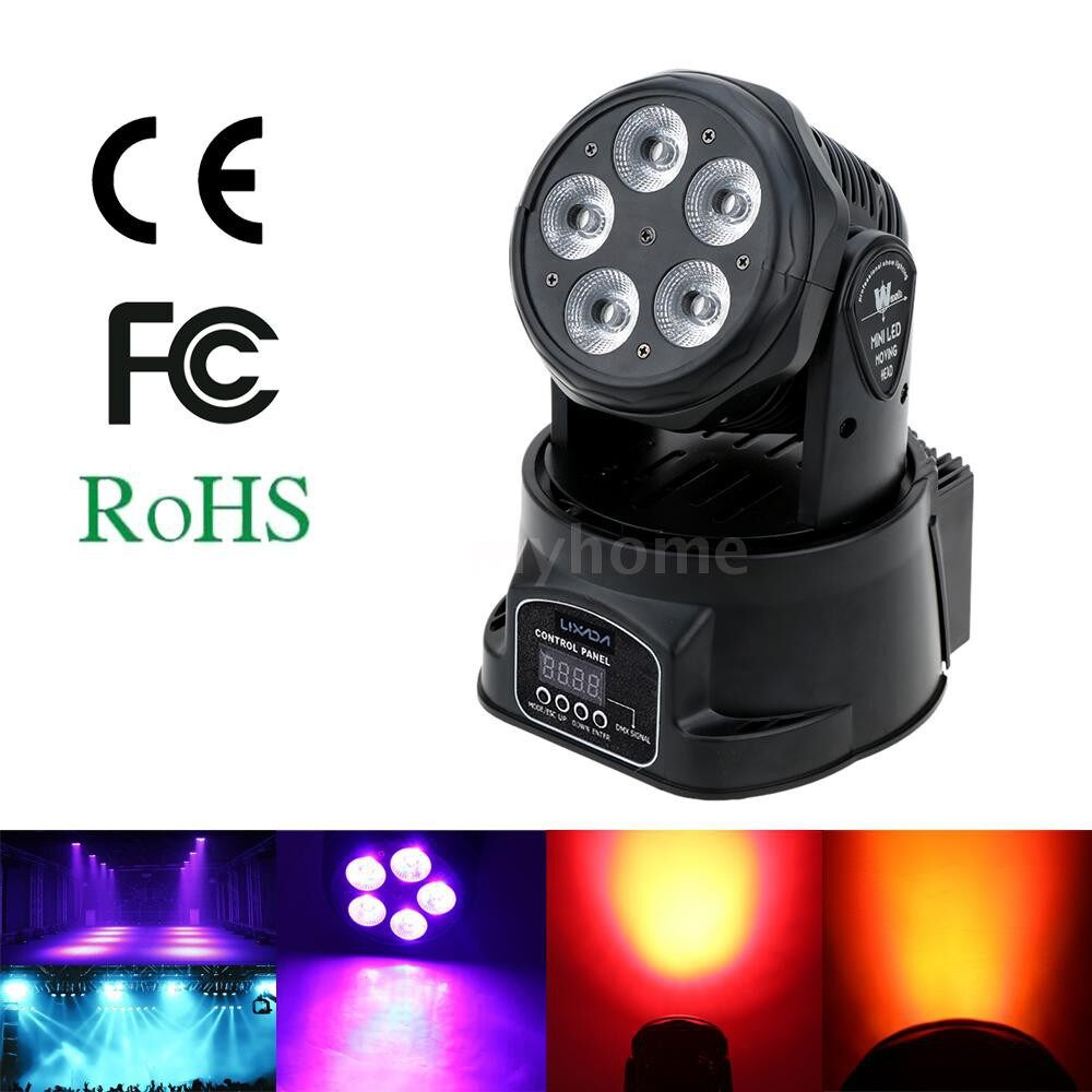 Lighting - 75W 5 LED DMX512 Sound Control Auto Rotating 10 / 15 Channels Colors Changing Head Moving - Home & Living