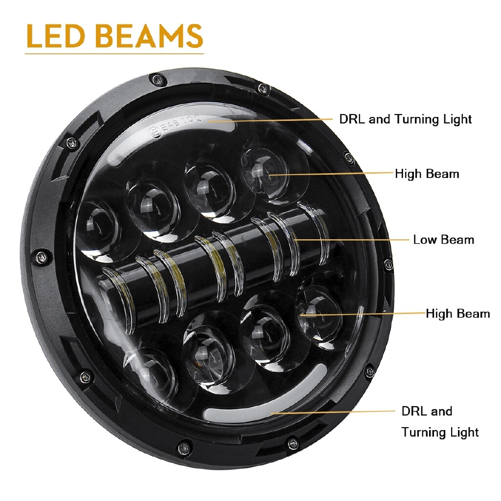 Car Lights - 2 x 7 Round LED Projection Headlight Hi/Low Beam For Jeep Cj-5 Cj-7 Wrangler TJ - Replacement Parts