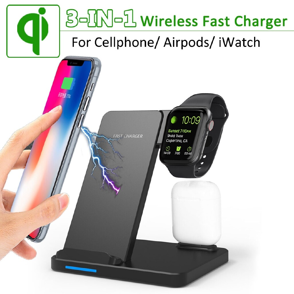 Chargers - 3-IN-1 Fast QI WIRELESS Charger Dock Holder for Apple Watch Air pod Cellphone - Cables