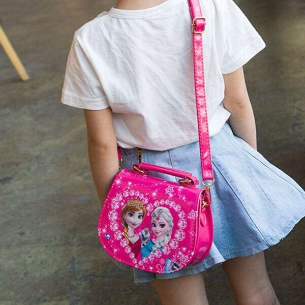 Giá bán Kindergarten Girl Princess Elza Elsa Anna Shoulder Bag PU Children Cartoon Elsa Handbags Travel Outlet Crossbody Bag