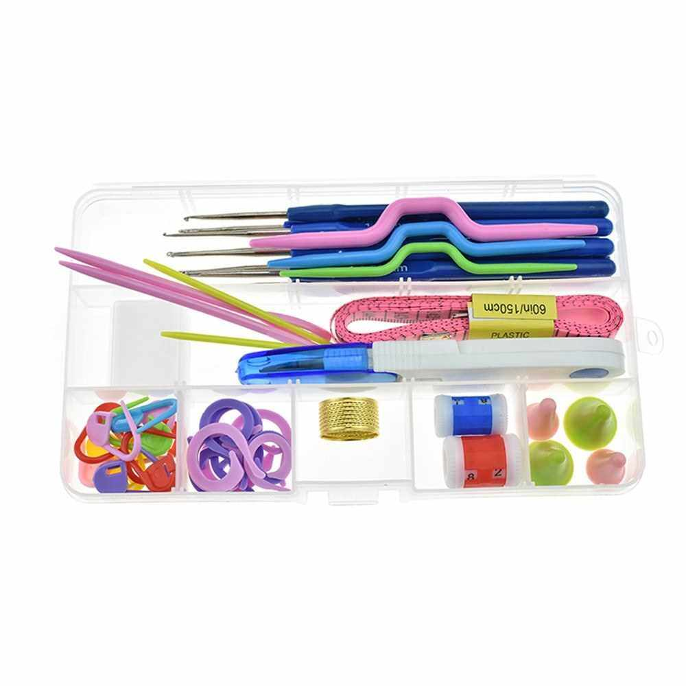 53 Pcs Crochet Hooks Set with Storage Case Ergonomic Handles Crochet Hook Kit Knitting Needles Weave Yarn Kits DIY Hand Knitting Art Tools (Standard)