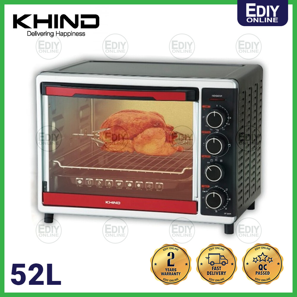 KHIND 52L ELECTRIC OVEN OT5205 OT-5205 CONVECTION FAN & ROTISSERIE FUNCTION (Roast Chicken UP TO 3KG) 【EXTRA BOX PACKING】
