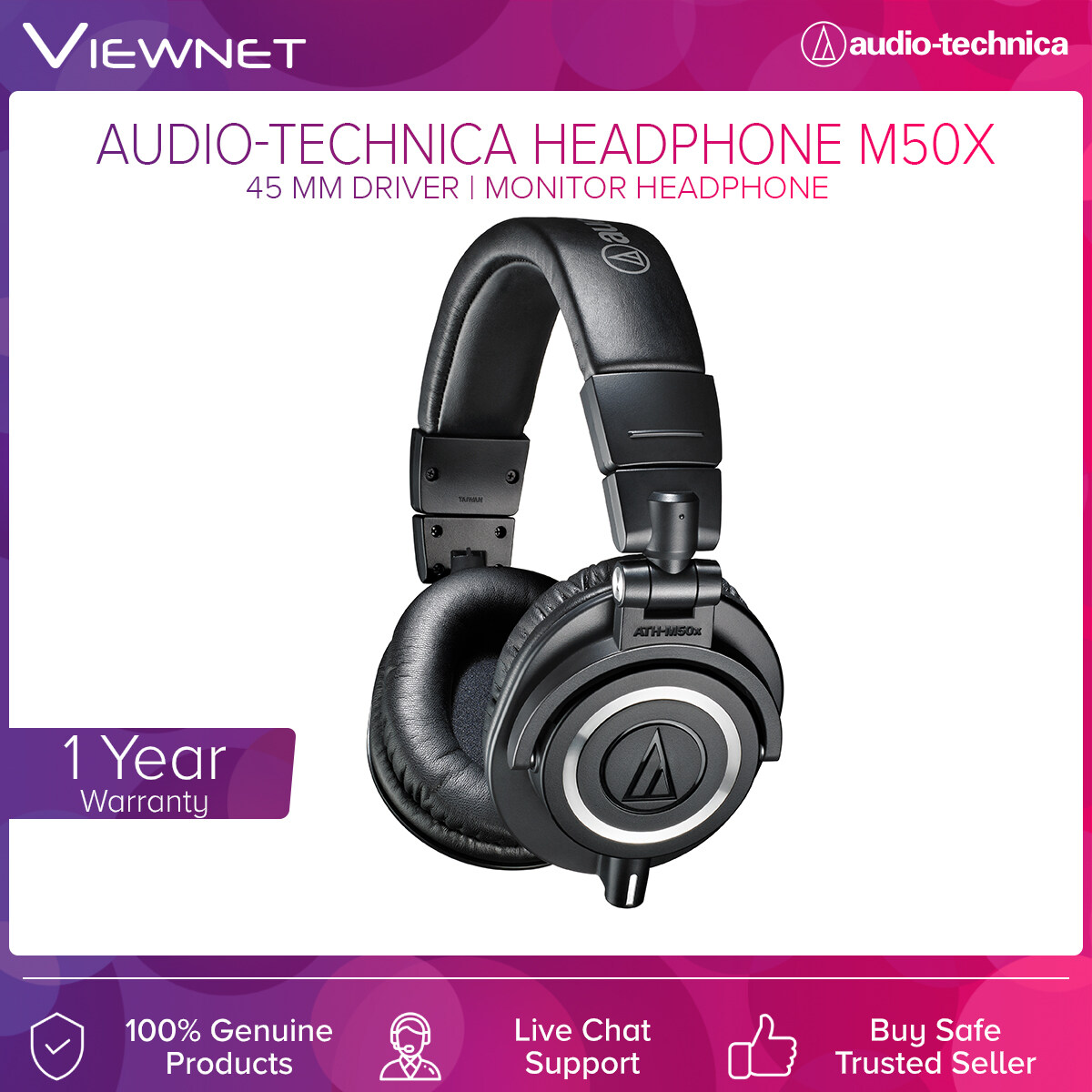 Audio-Technica Professional Monitor Headphones ATH-M50X with 45mm Driver, Copper-Clad Aluminum Wire, 3 Meter Length Cable, 15 - 28,000 Hz