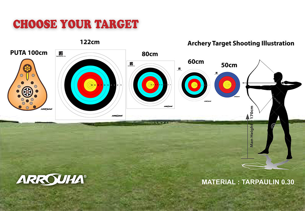 Archery Target Face 122cm 80cm 60cm 50cm 10 and 6 Rings JVD FITA Format And Turkish Puta Tarpaulin Type Outdoors Arrouha
