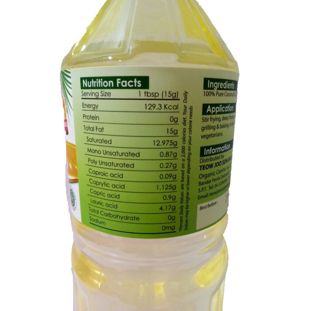 Papatan Org 100% Pure Cooking Coconut Oil (Halal) 1Litre