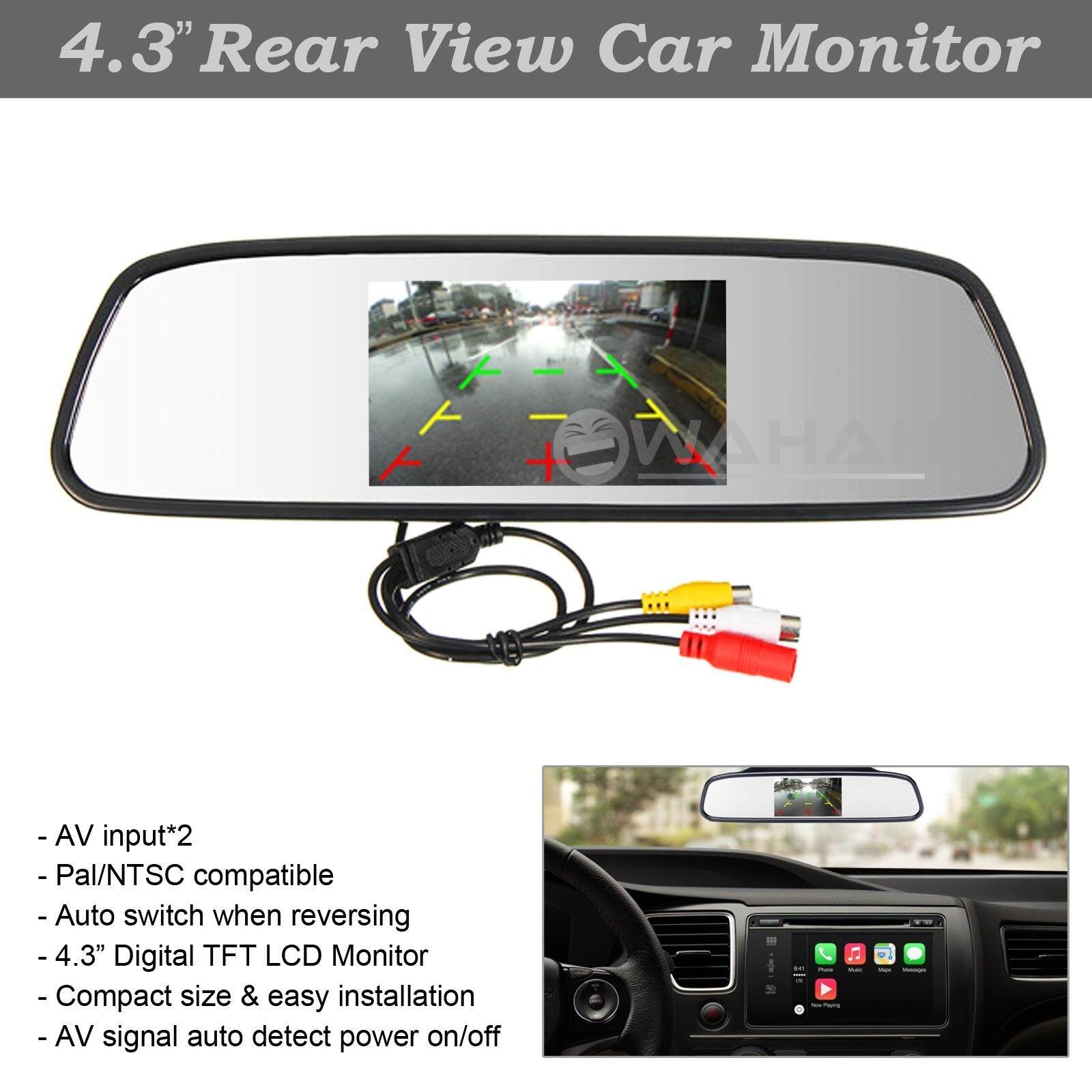 "Rear View Mirror with 4.3"" Rear View Camera Screen LCD Monitor Display"