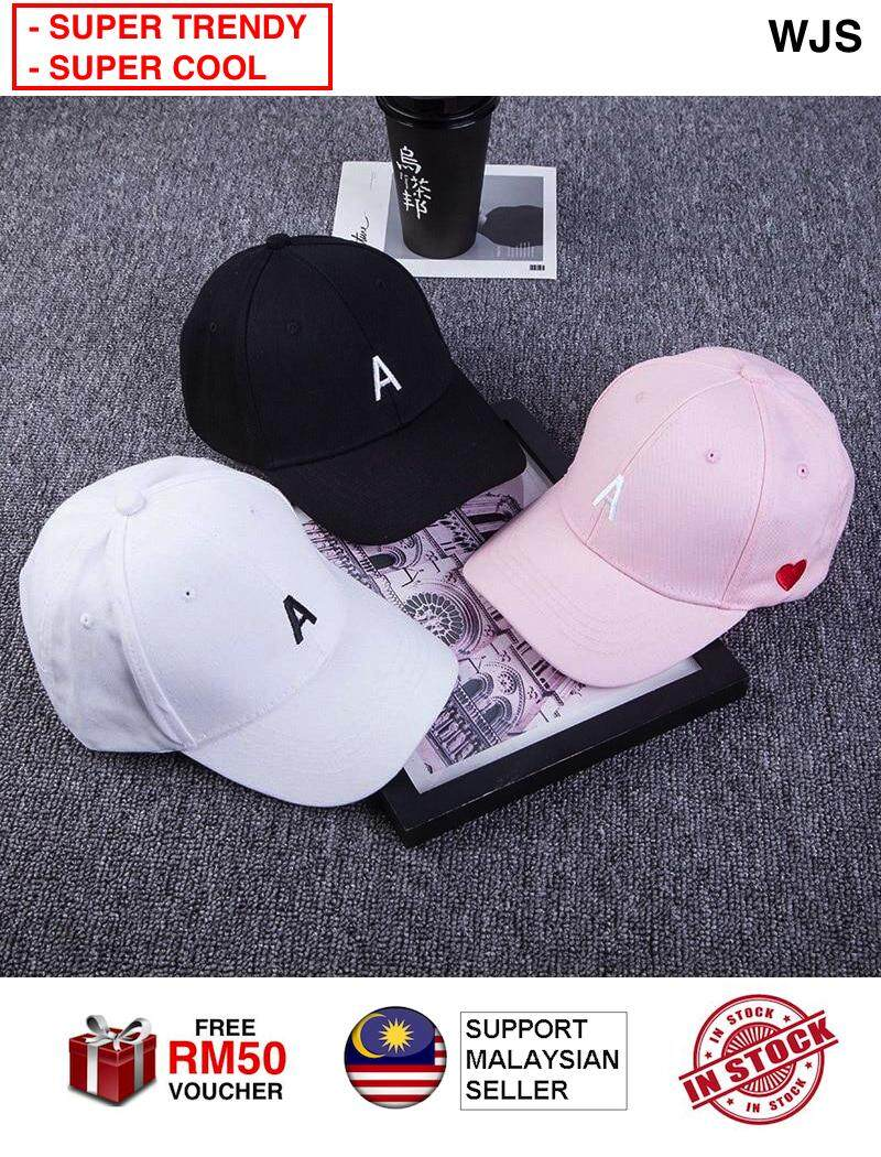 (SUPER POPULAR) WJS Embroidery A Baseball Cap For Women Red Heart A Love Caps Snapback Hip Hop Hat Summer Cotton Dad Hat BLACK PINK WHITE [FREE RM 50 VOUCHER]