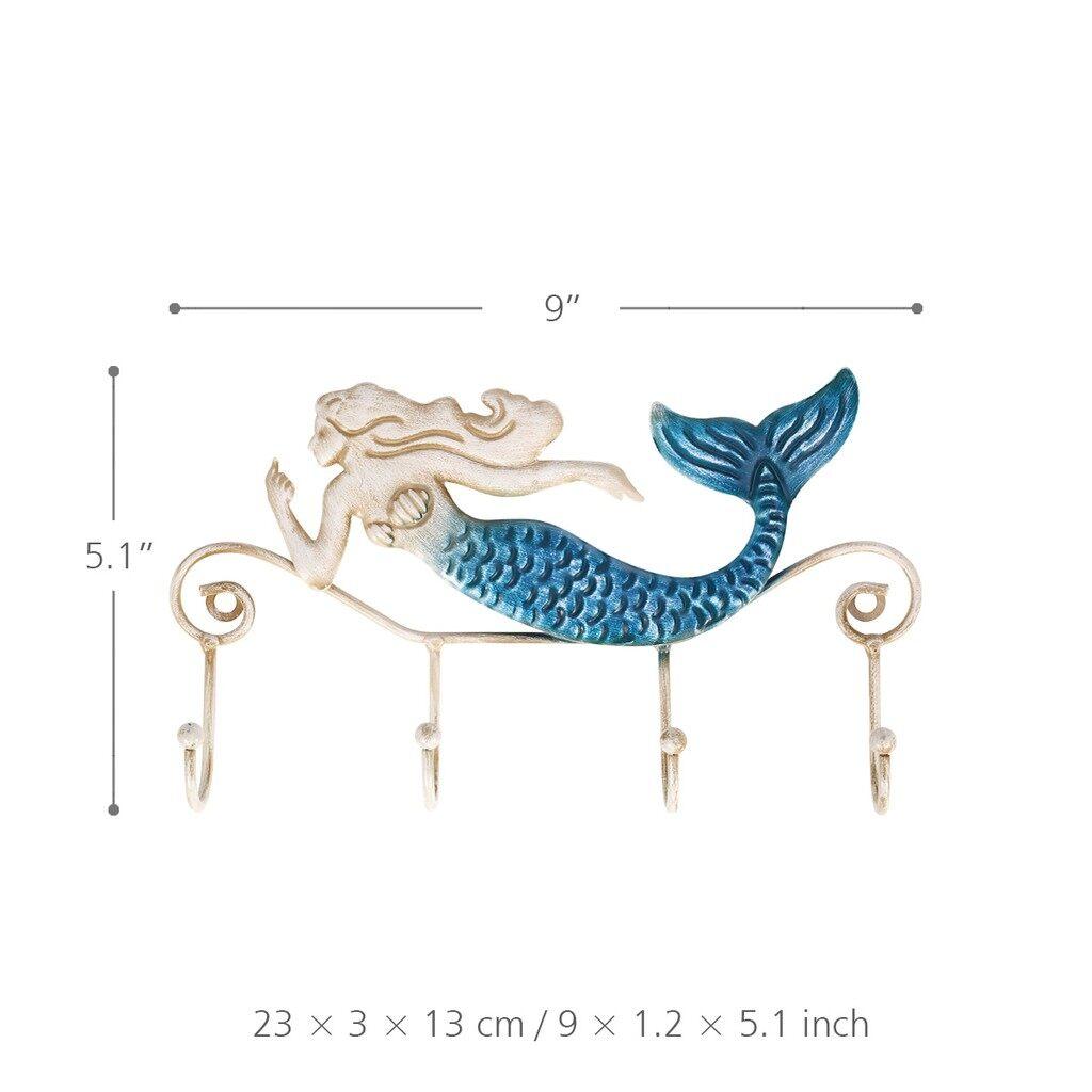 Home Decor - Iron Mermaid Wall Hanger Iron Wall Hook 4 Hooks for Coats Towels - Living