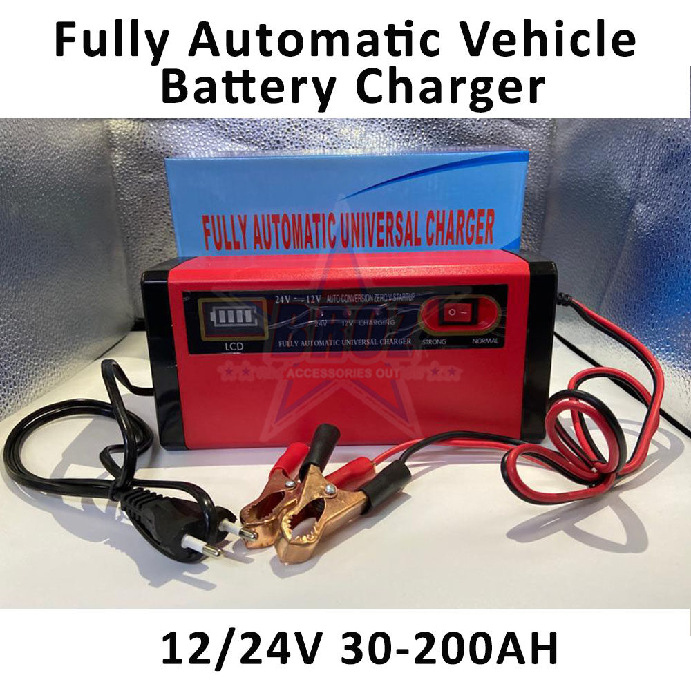 ? 12v/24v Car Lorry Motorcycle Battery Charger Pengecas Bateri Kereta Lori Motorsikal Fully Automatic Universal Charger with LCD Display 30AH – 200AH – (BLUE/RED) Random Colours