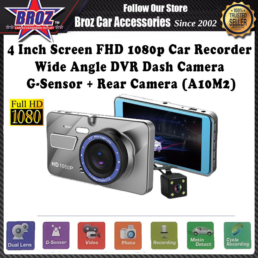 4 Inch Screen Full HD 1080p Car Recorder Wide Angle Dual Lens DVR Dash Camera G-Sensor + Rear Camera (A10M2)