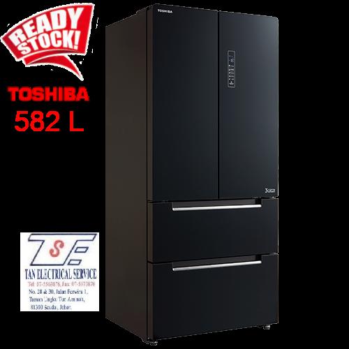 TOSHIBA GR-RF532WE-PGY (22) 582L FRENCH DOOR DUAL INVERTER REFRIGERATOR / FRIDGE