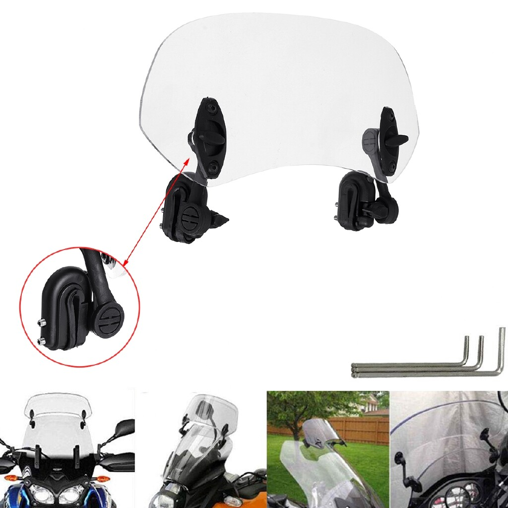 Engine Parts - 28mm Adjustable Clip On Windshield Extension Spoiler Wind Deflector Motorcycle - Car Replacement