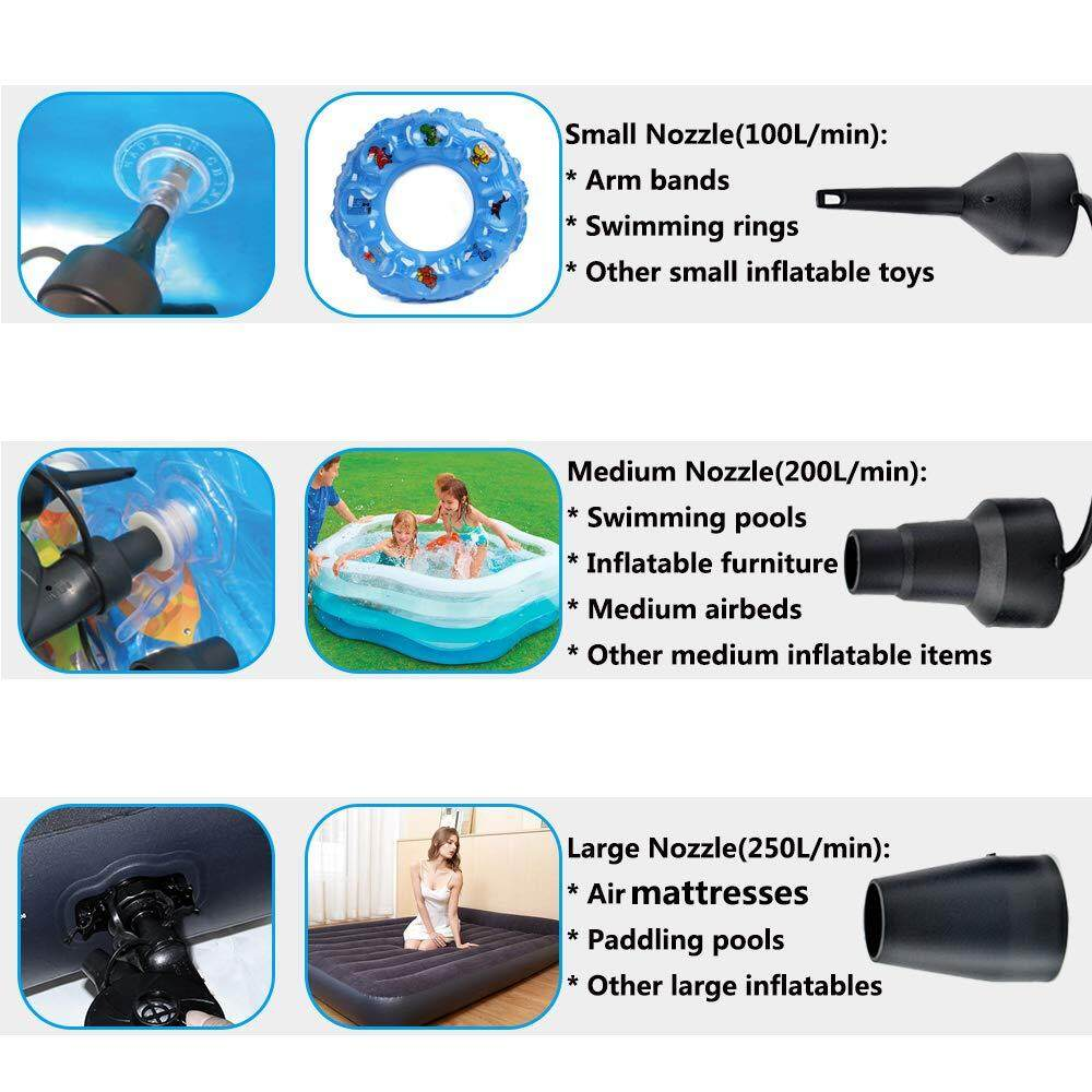 Electric Air Pump For Inflatable Air Bed,Mattress,Pool,Home (3 PIN PLUG)