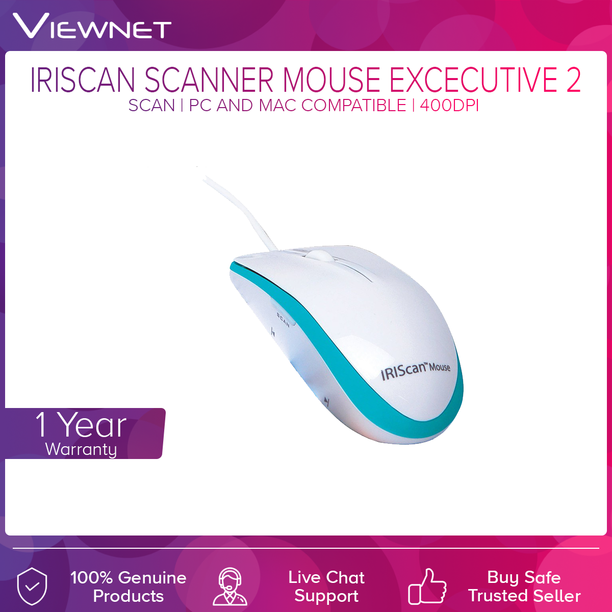 IRIScan Scanner Mouse Excecutive 2 (Scan) with 400DPI, PC and Mac compatible