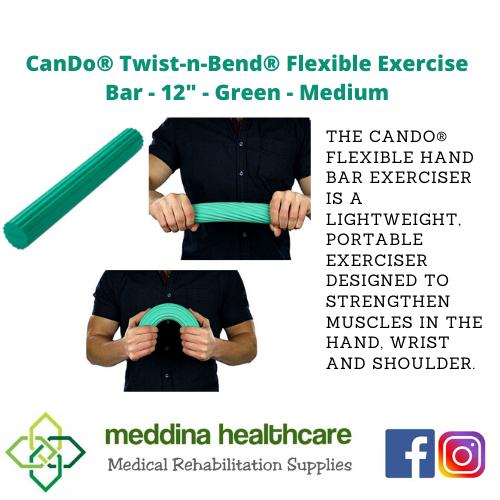 """(CANDO BRAND) Flexible Exercise Bar - 12"""" - Green - Medium"""