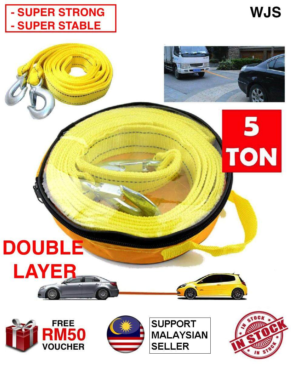 (SUPER STRONG & STABLE) WJS 5M 5Meter 5 Ton 5 Tonnes Universal Trailer Rope Double Layer Car Tow Rope Towing Strap With Hooks for Heavy Duty Car Emergency Travel Tool Fluorescent Color Safe at Night BRIGHT YELLOW - HOOK DESIGN U [FREE RM 50 VOUCHER]