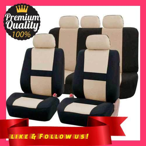 People\'s Choice 9 Pcs Car Seat Cover Vehicle Protective Cushion Four Seasons Universal Full Surround Headrest Auto Interior Decoration for Most Car Truck Suv Van One Color Two Type (Beige)