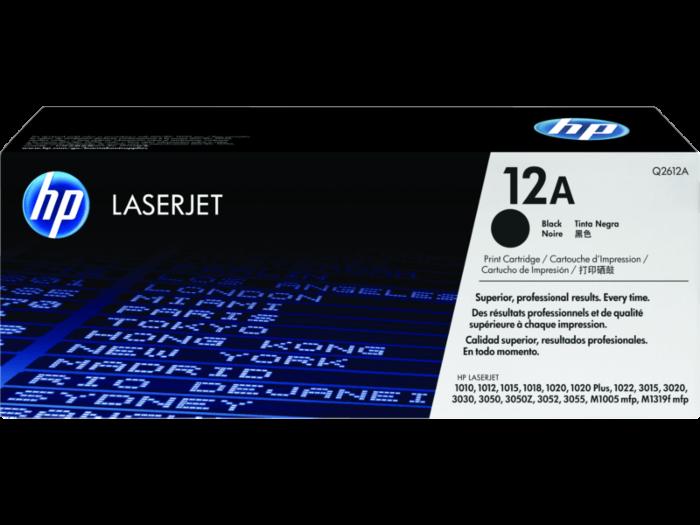HP 12A Black Original LaserJet Toner Cartridge (Q2612A/12A), Black