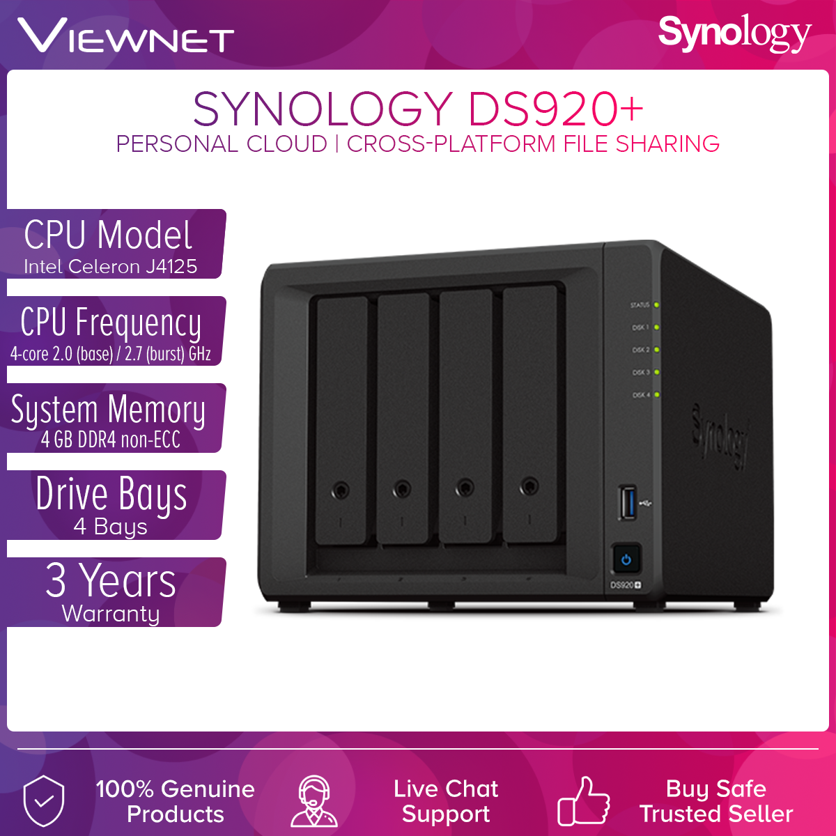 Synology DS920+ NAS DiskStation 4-Bays NAS Data Backup Storage with Quad-Core Processor External Hard Drive