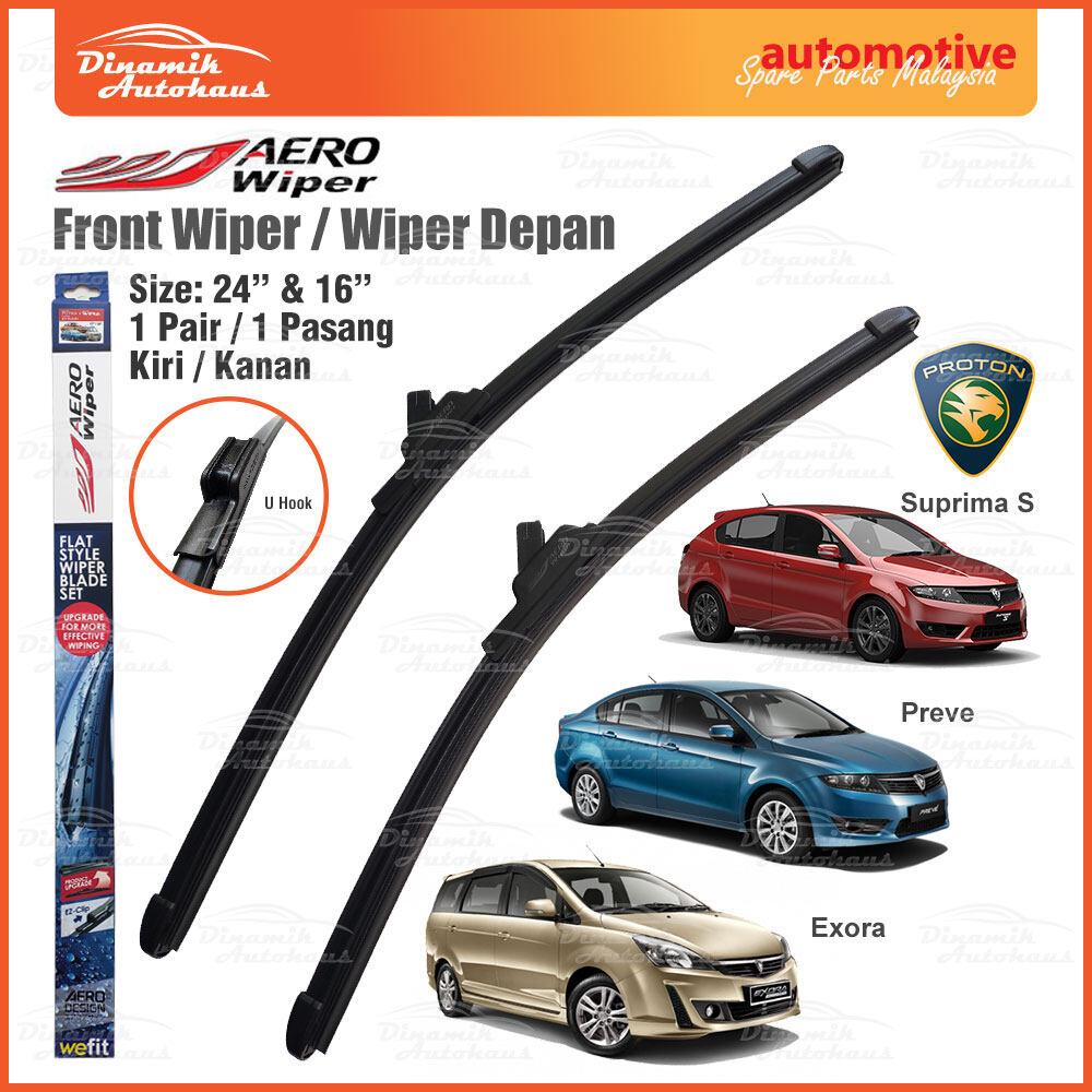 """Proton Suprima S / Preve / Exora Car Front Windshield / Windscreen Flat Wiper Blade Size 24"""" & 16"""" - AERO Wiper ARO2416"""