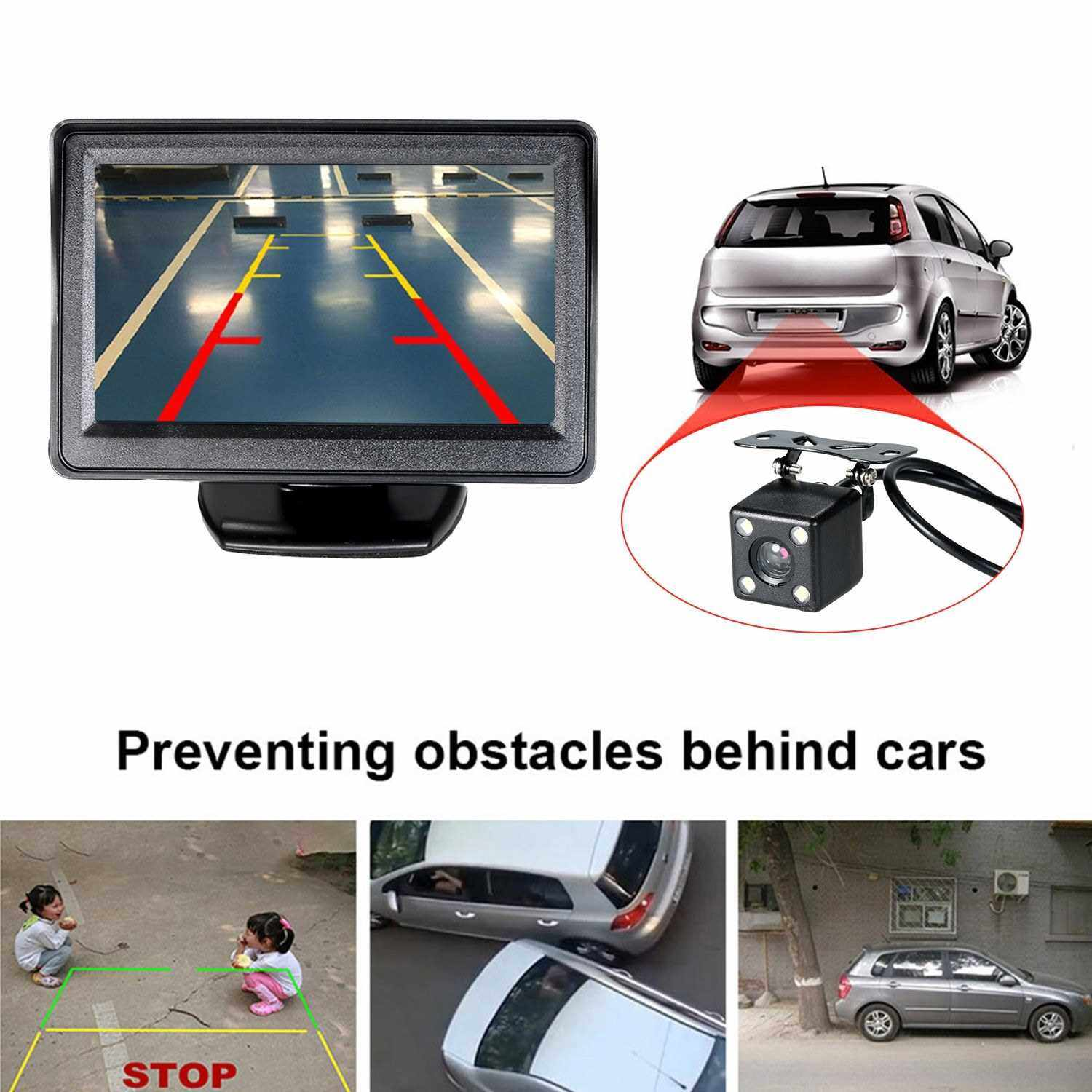 Best Selling 4.3'' TFT LCD Monitor Car Vehicle Backup Camera Parking System Rear View Security Monitor & Waterproof Night Vision (Standard)