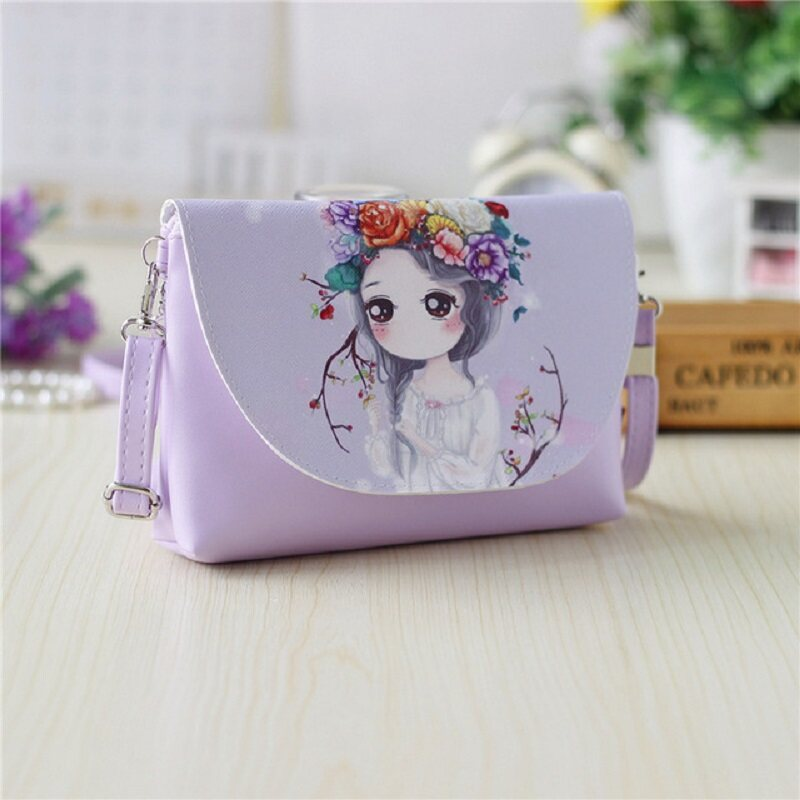 Children Girl Shoulder Bags Cartoon Printing Mini PU Leather Crossbody Princess Messenger Bag