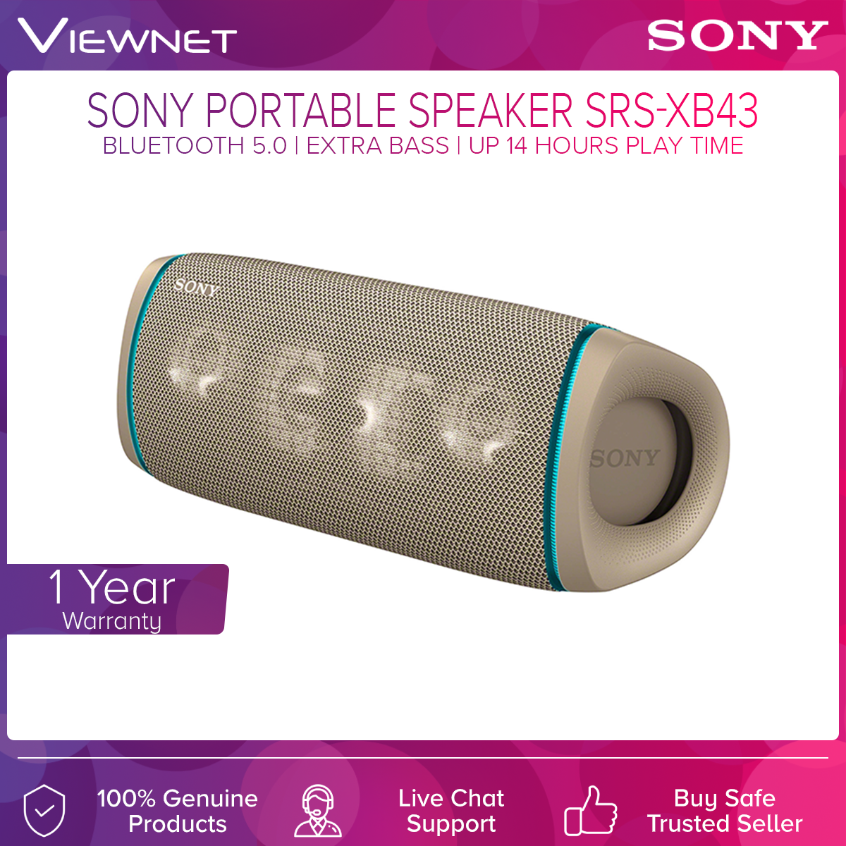 Sony Bluetooth Portable Speaker SRS-XB43 with Bluetooth 5.0 Connection, Extra Bass, IP67 Rated, X-Balanced Speaker Unit, Up To 14 Hours Play Time, Sony Music Center App Support