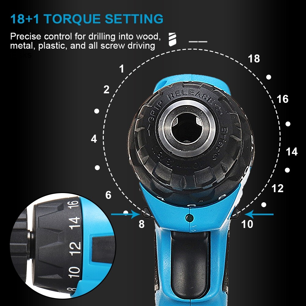 DIY Tools - Cordless Screwdriver LED Electric Power Tool Drill Kit Rechargeable - Home Improvement