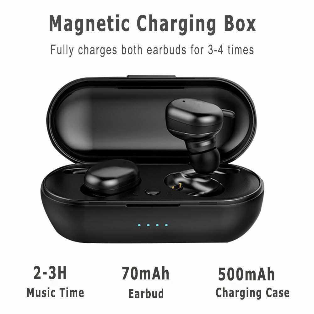 Y30 Bluetooth 5.0 True Wireless Headphones Mini TWS Earbuds Sweatproof Sport Headset In-ear Earphone with Mic Charging Case Touch Control (Black)