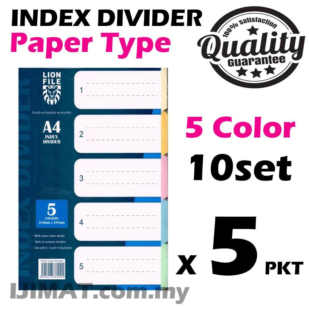 5 x Pack LION FILE A4 Index Divider / 5 Colour Filling Separator Paper Type 10sets (5color)
