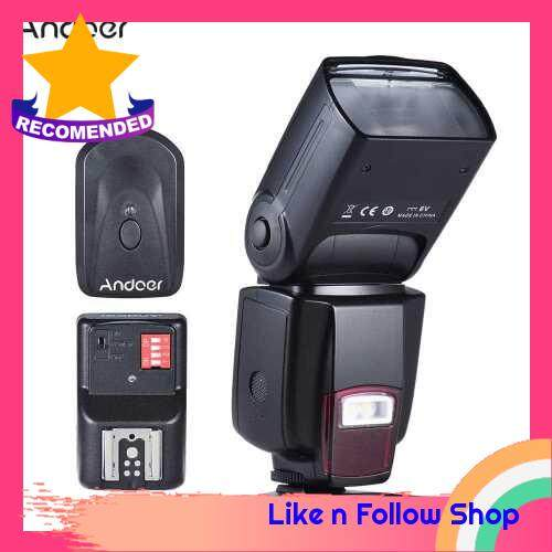 Andoer AD-560? Universal Flash Speedlite On-camera Flash GN50 w/ Adjustable LED Fill Light + Andoer Universal 16 Channels Radio Wireless Remote Speedlite Flash Trigger (Black Red)