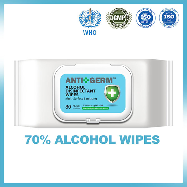 Alcohol Wipes, 70% Isopropyl Alcohol, 80s.