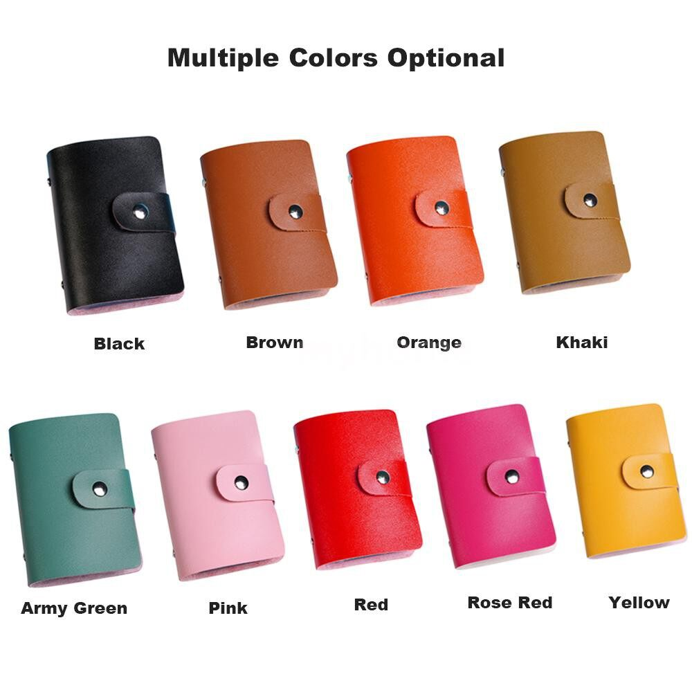 Home Storage & Organization - Fashion Women Men Card Holder Organizer 24 Card Slots PU Leather Business ID Credit Card Case - PINK / BLACK / ROSE RED / RED / KHAKI / YELLOW / ORANGE / ARMY GREEN / BROWN