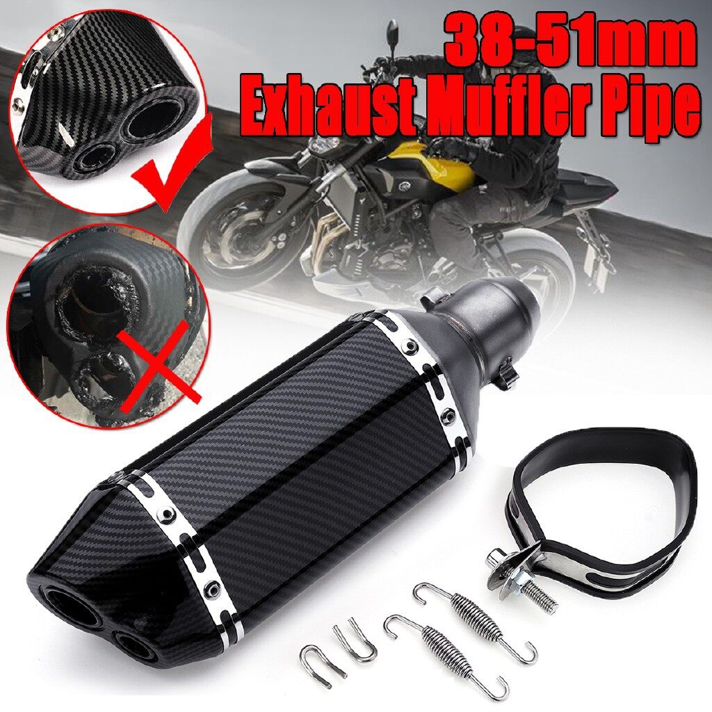 Moto Accessories - Carbon Fiber 38-51mm Motorcycle Aluminum Dual-outlet Exhaust Muffler Pipe 310mm - Motorcycles, Parts