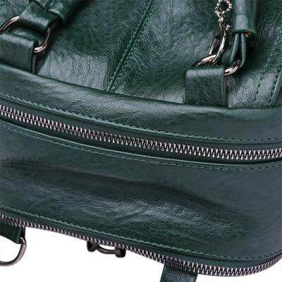 Guapabien Women Backpack Soft PU Leather Girls Female Solid Color Travel Bag (DEEP GREEN)