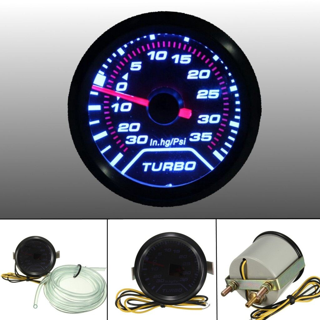 Tyres & Wheels - LED 2 Inch Turbo Boost Pressure Gauge Smoked Dials Surface PSI - Car Replacement Parts