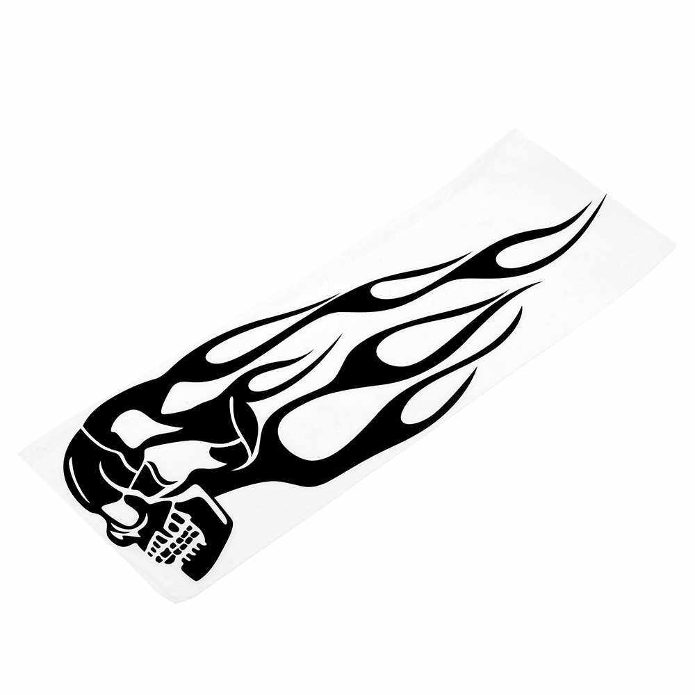 Best Selling Pair Universal Motorcycle Decal Gas Oil Tank Flames Skull Badge Sticker (Black)