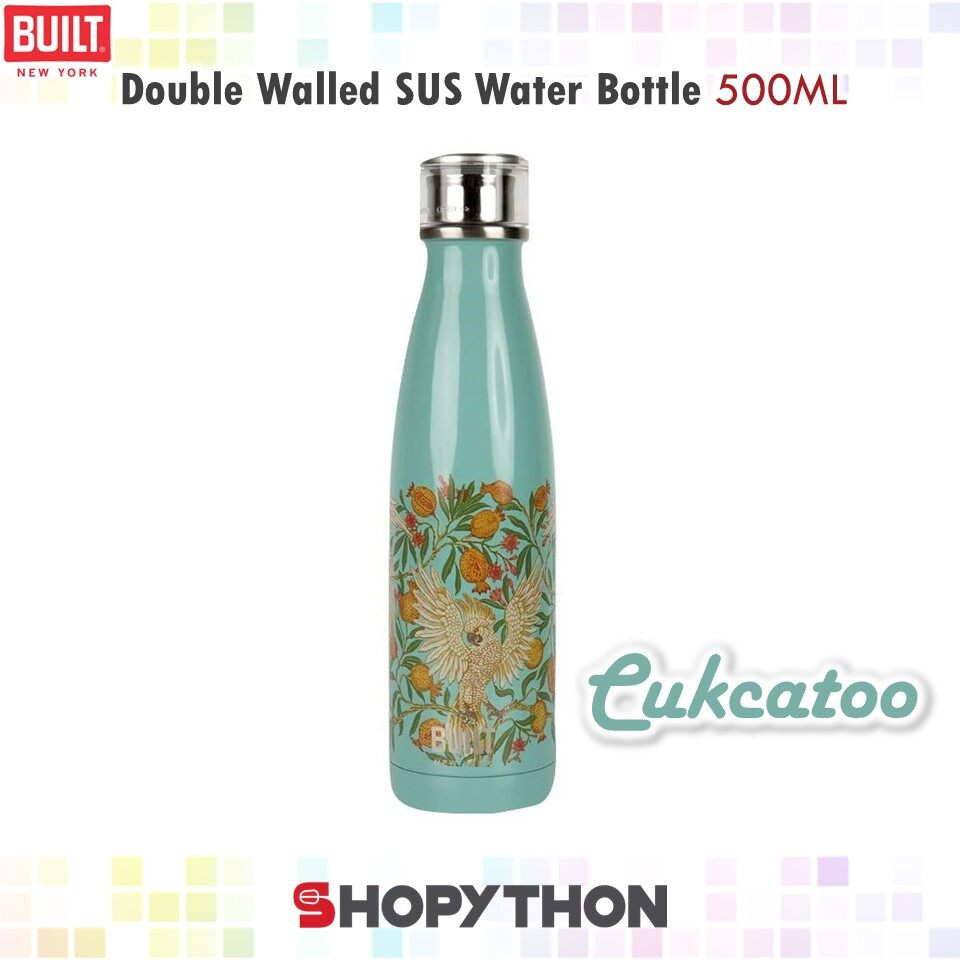 BUILT NY V&A Double Walled Stainless Steel Water Bottle 500ml (Cuckatoo) Perfect Seal Hot Cold Drinks Insulated Thermos