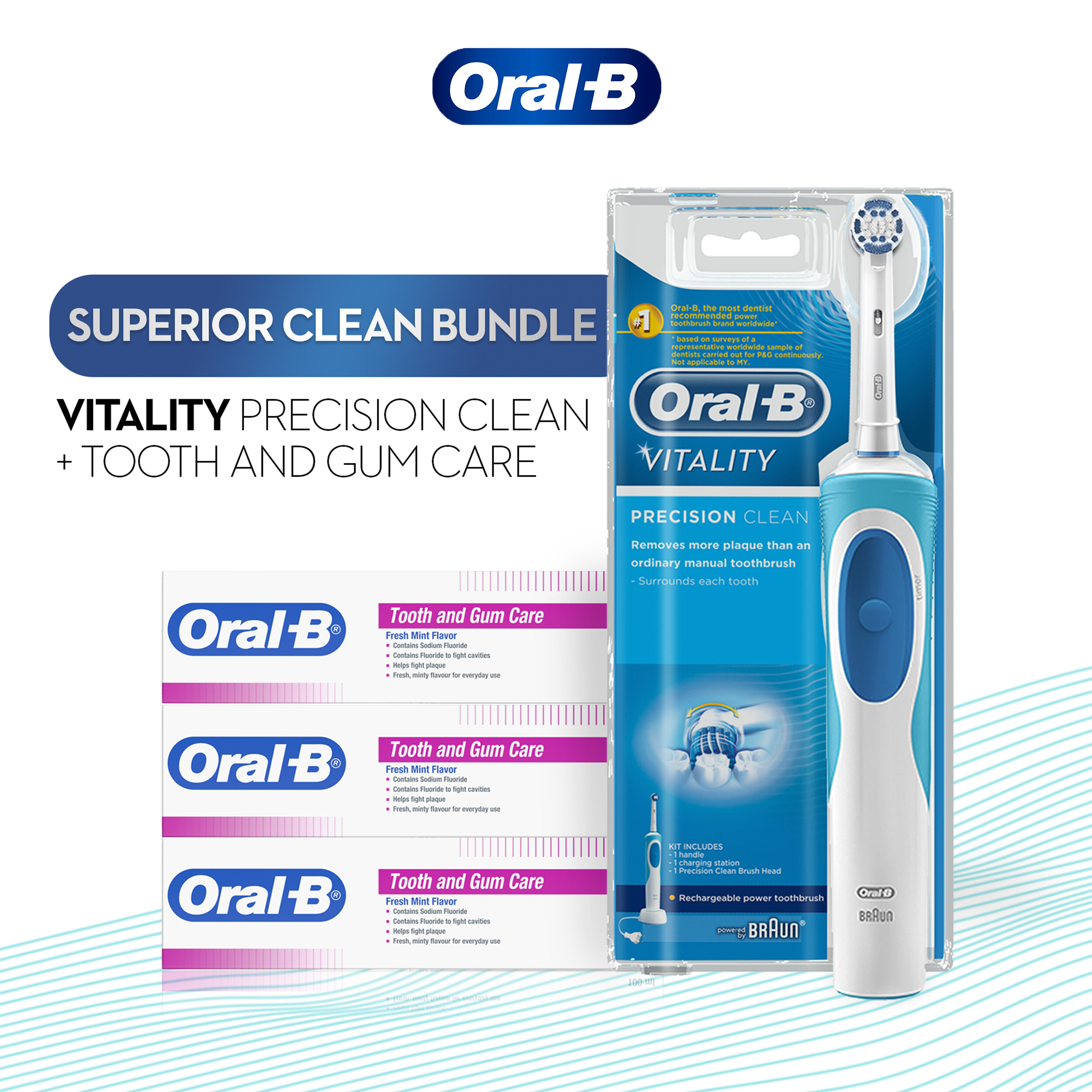 Oral-B Vitality Precision Clean Electric Toothbrush & Toothpaste 100ml x3