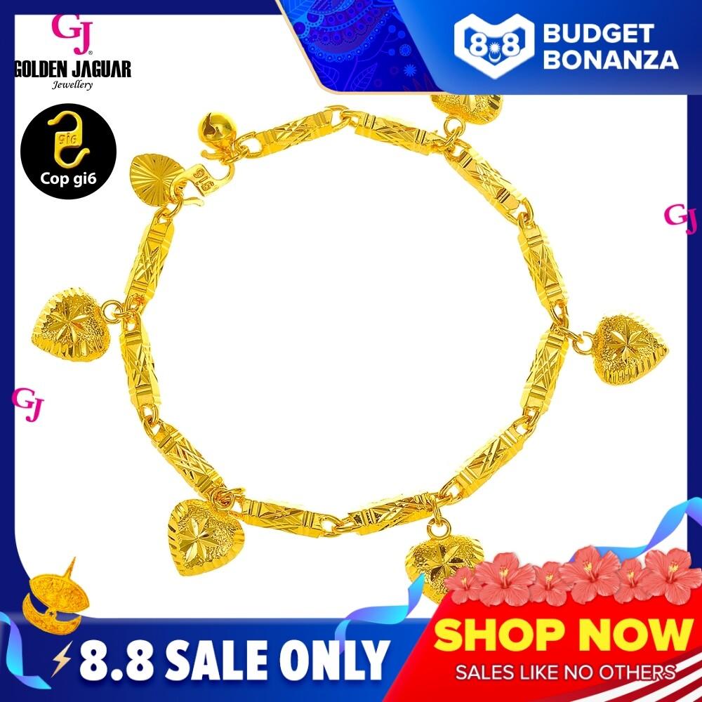 GJ Jewellery Emas Korea Woman Bracelet - Gelang Tangan Buloh + Full of Love (2460529-1FOL)