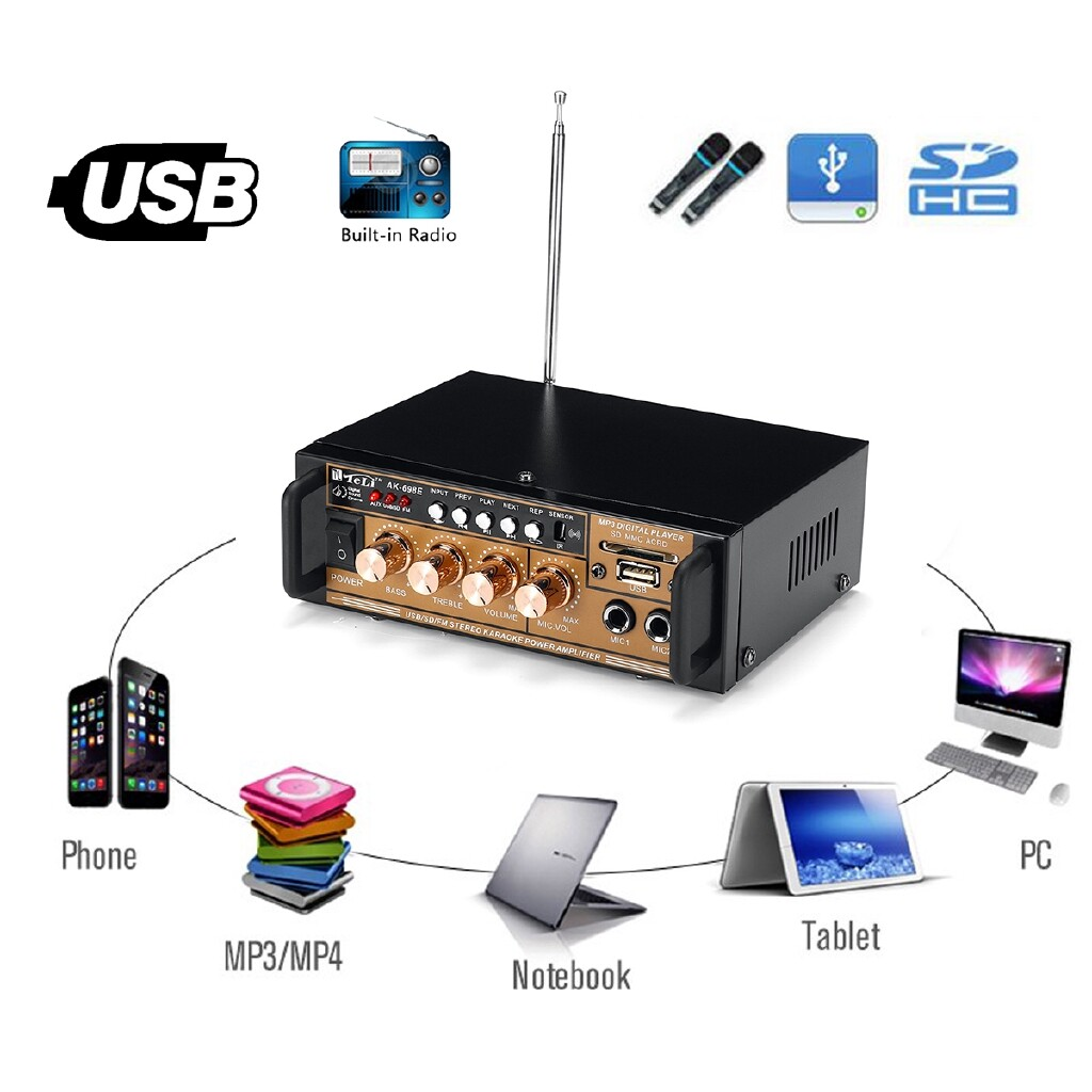 Amplifiers & Receivers - 300W 12V/ 220V HIFI Amplifier Audio Stereo Power FM Radio USB/TF 2CH Car - Home Entertainment