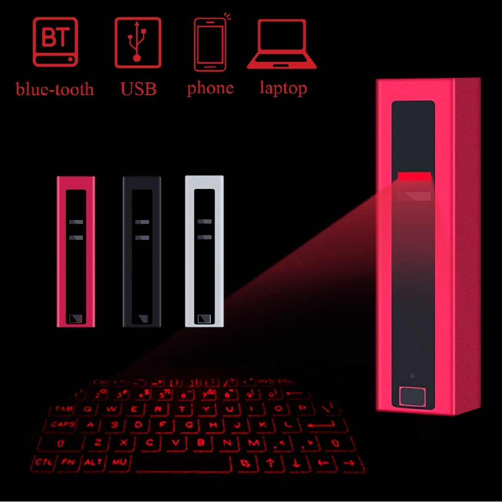 Keyboards - for Laptop Phone MINI WIRELESS BLUETOOTH Laser Projection Virtual Keyboard - GRAY / ROSE RED / BLACK