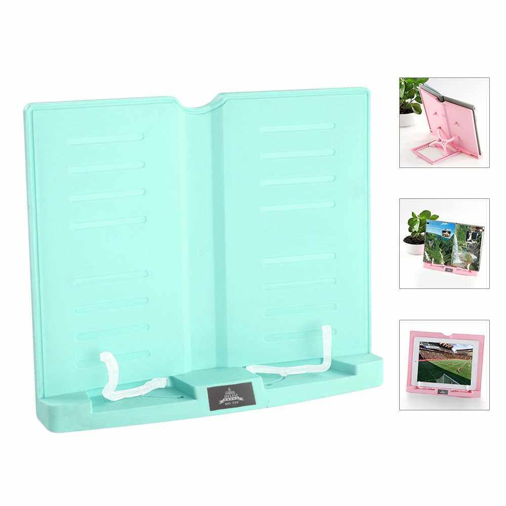 Portable Book Stand Adjustable 6 Angles Book Document Holder Foldable Bookstand Hands Free Desk Reading for Cookbook Recipe Music Book Textbook Tablet Accessories (Green)