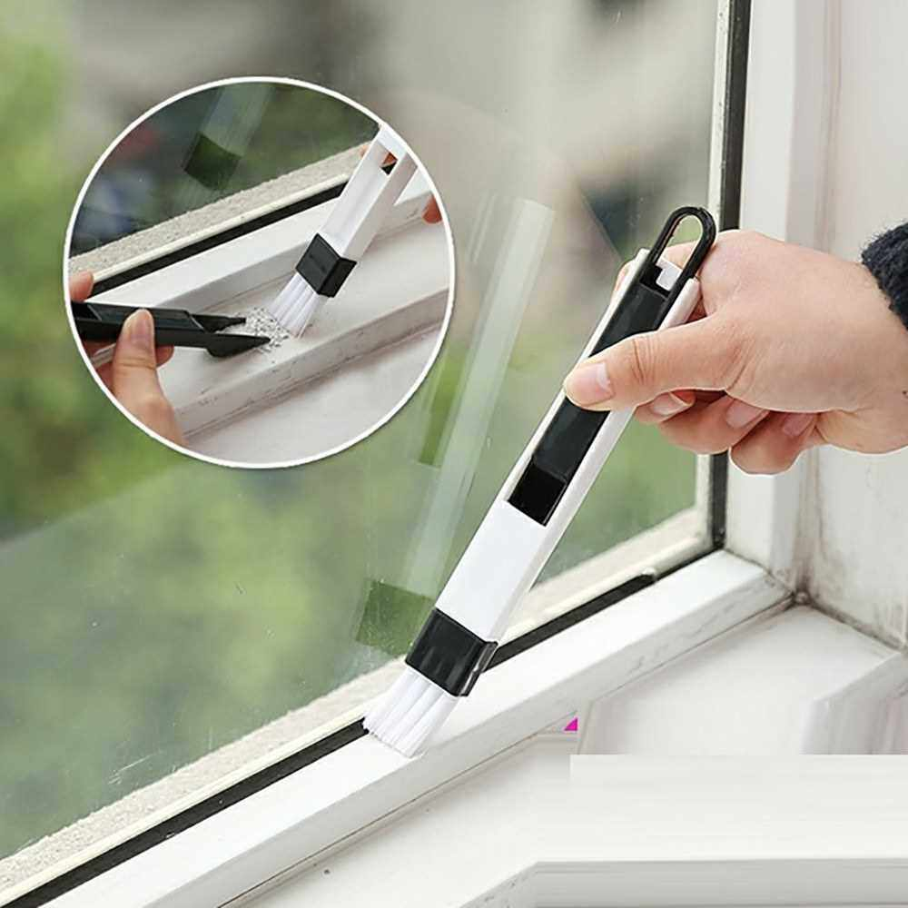 TY door window window groove groove cleaning brush groove small brush with ?? corner gap brush screen cleaning black (Black)