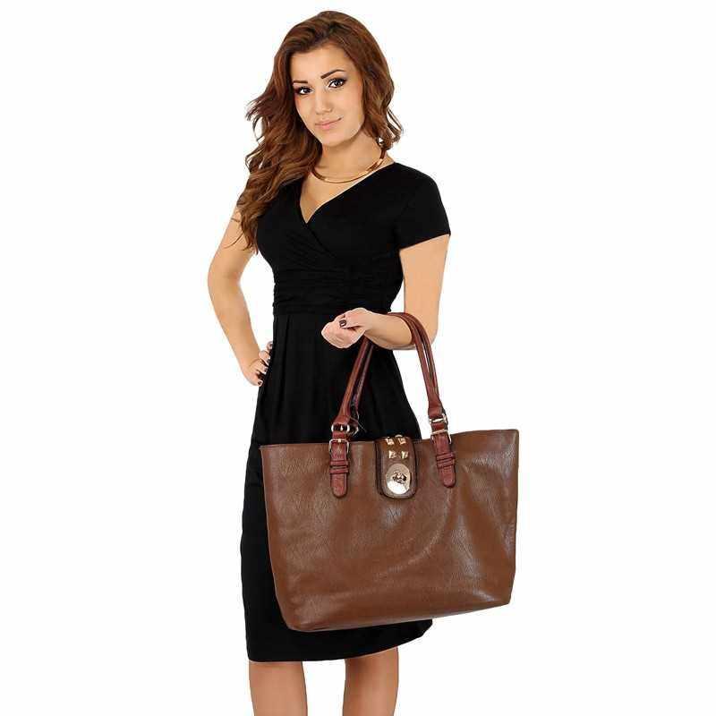 Fashion Women Elegant Office Stretchy Dress Wrap Front Tunic V-Neck Short Sleeve Maternity Dress (Black)