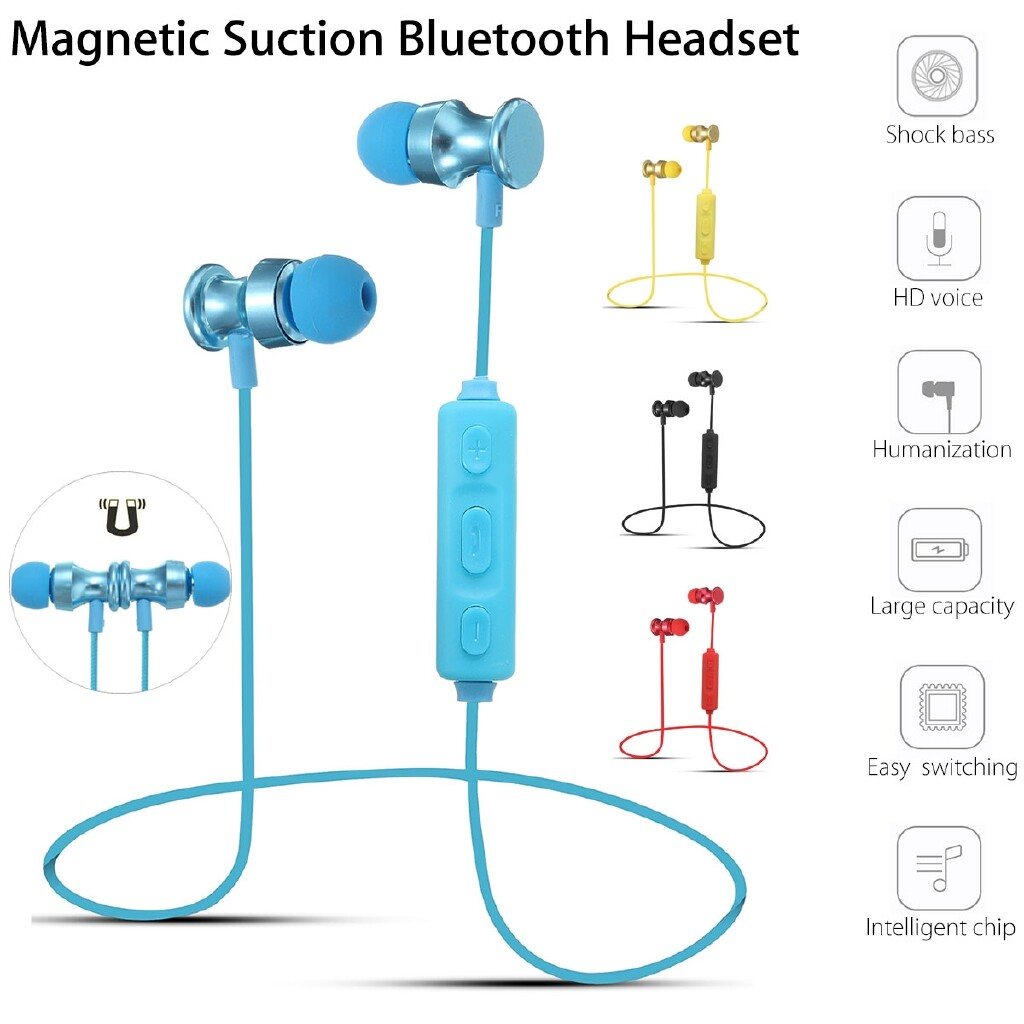 On-Ear Headphones - Magnetic In-Ear WIRELESS BLUETOOTH Earbuds Mic Stereo Headphone Head SET Earphone - RED / BLUE / BLACK / GOLD