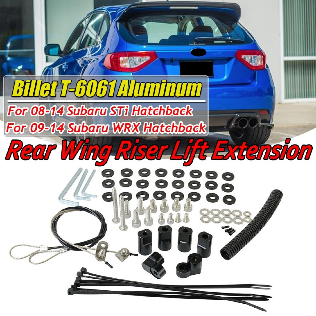 Engine Parts - For 2008-2014 Subaru WRX / STi Hatchback Rear Roof Wing Spoiler Riser Extension - Car Replacement